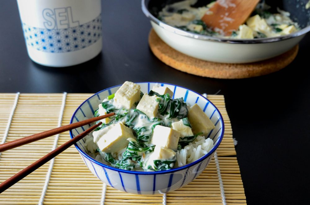 photo riz tofu epinards